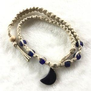 Blue sandstone crescent moon hemp necklace 🆕